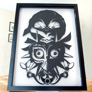 Legend of Zelda Majoras Mask // shadow cut hand cut paper craft shadow box 3D framed wall art