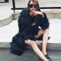 Womens Faux Fur Soft Warm Hooded Coat Outerwear Overcoat Long Jacket Parka Jaqueta Feminina Inverno Feather Coat#2
