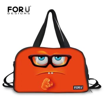 FORUDESIGNS Funny Emoji Travel Bags Women Travel Handbag High Quality Smiley Face Luggage Tote Female Carry On Travel Duffle Bag