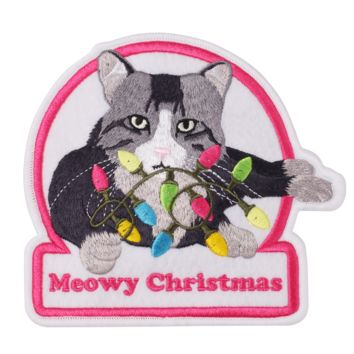 Meowy Christmas LED Ugly Sweater Patch