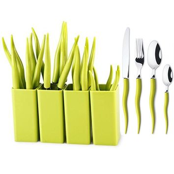 24 Pieces Stainless Steel Flatware set,Service for 6,Cutlery Set,Tableware,Green