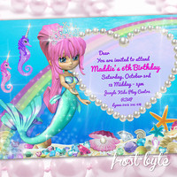Mermaid Princess Birthday Invitation - Party invites custom made with your details - underwater theme - rainbow jewels sparkles shells