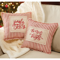 Red Striped Christmas Pillow