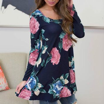 Women's Navy Rose Floral Print Long Sleeve Casual Blouse Top