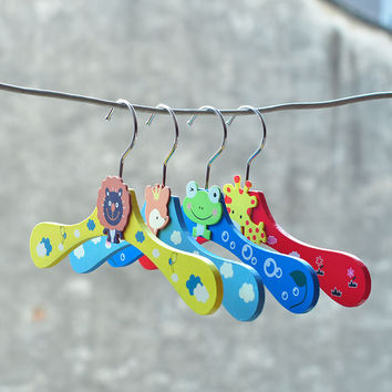 Children Lovely Wooden Baby Shirt Rack Pants Kids Hanger 6pcs/set [11516239503]