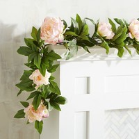 Faux Pink Peony 6' Garland