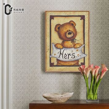 Cute Teddy bear Vintage Art Prints Canvas Painting for kids rooms Wall pictures for living room No Framed Home Decor