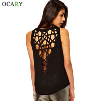 Sexy Ladies Hollow Out Blouses Casual Loose Summer Black Orange Tanks Women Tops 2016 New Fashion Chemisier Shirts Plus Size XXL