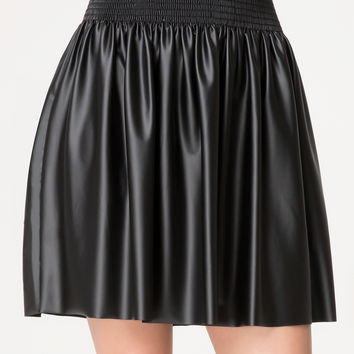bebe Womens Smocked Faux Leather Skirt Black