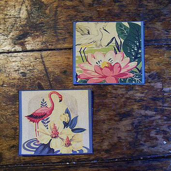 pink flamingo patch set retro vintage 1950's Florida rockabilly art deco sew on patch kitsch