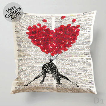 Love Carries All Giraffe Pillow Case, Chusion Cover ( 1 or 2 Side Print With Size 16, 18, 20, 26, 30, 36 inch )
