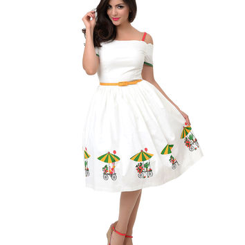 1950s Style Scalloped White Off Shoulder Flower Cart Swing Dress