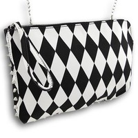 Black and White Diamond Checkered Clutch Purse with Spikes