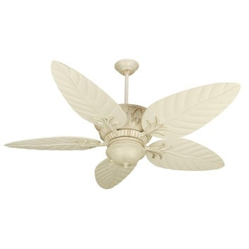Craftmade K10248 Pavilion Antique White Distressed Ceiling Fan with 54-Inch Outdoor Tropic Isle Antique White Blades