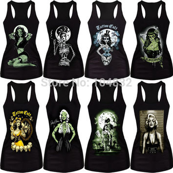 EAST KNITTING HOT ! DropShipping Women Summer Tops Painting Cool Pattern 3D Skull Bone Camisole Sexy Print Vest Tanks Tops Shirt