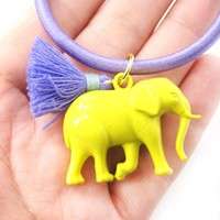 Cute Elephant Charm Hair Tie Pony Tail Holder in Bright Yellow | DOTOLY