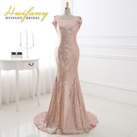 Huifany 2017 Rose Gold Sequins Bridesmaid Dresses Real Pictures Cap Sleeves Low Back Mermaid Maid of Honor Dress Plus Size