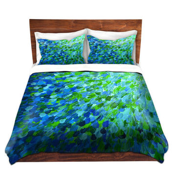 BEACHY Fine Art Duvet Covers, King Queen Twin Size Whimsical Home Decor Ombre Bedding Ocean Splash Turquoise Aqua Blue Green Floral Bedroom