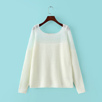 Winter Korean Round-neck See Through Pullover Long Sleeve Sweater Bottoming Shirt Knit Jacket [6332337220]