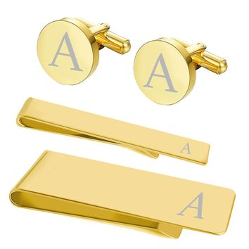 BodyJ4You 4PC Cufflinks Tie Bar Money Clip Button Shirt Personalized Initials Alphabet A-Z Gift Set