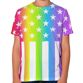 American Pride - Rainbow Stars and Stripes Youth T-Shirt Dual Sided All Over Print