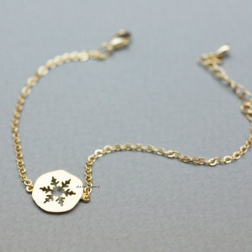 Lovely Cutout Snowflake medal charm Bracelet in 2 colors, B0826G