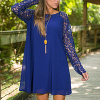 Victoria Swing Dress, Royal Blue