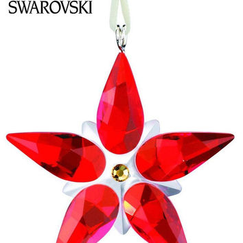 Swarovski Crystal Christmas Figurine Ornament POINSETTIA ORNAMENT SMALL #0905210