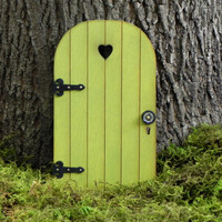 Fairy Door fairy garden miniature wood citrus green with black hinges