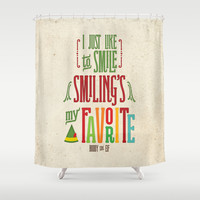 Buddy the Elf! Smiling's My Favorite! Shower Curtain by Noonday Design