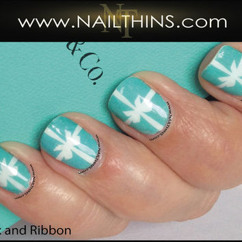 Classic Blue and White Nail Decal Full nail wrap by NAILTHINS Nail Art Design Nail Transfer