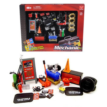 Mechanic Accessory Set For 1-24 Scale Cars 23 Pieces by Phoenix Toys