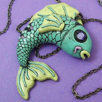 Tattoo Inspired Koi Fish Necklace with crystal eye