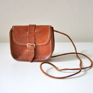 SALE Small Leather Belted Satchel