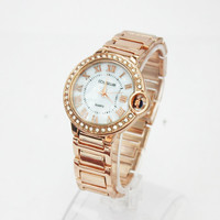 Thank you Friends and Family Gift Card Woman Stainless Steel Fashion Wristwatch Dress Birthday Gift Rose Gold Watch