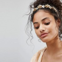 Orelia Metal Flower Pearl Hairband at asos.com