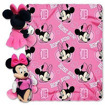 Minnie Mouse Cheerleader Detroit Tigers MLB Throw and Hugger Pillow Set