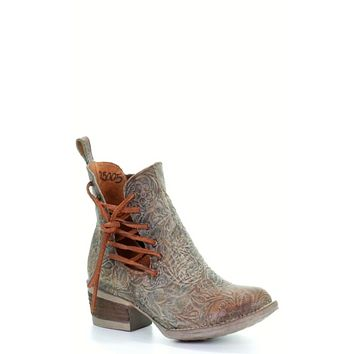Circle G by Corral Ladies Blue Floral Engraved Ankle Boots