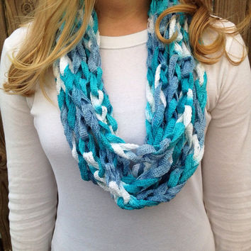Seabreeze (Blue and White) Crochet Infinity Chain Scarf, Chain Scarf, Infinity Scarf