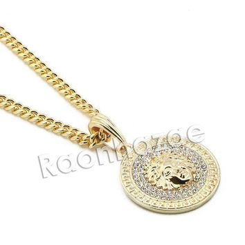 Mens Iced Out Brass Gold Medusa Charm Pendant W/ 5mm 24' 30' Cuban Chain A07g