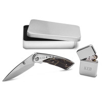 Personalized Camouflage Lock Back Knife and Lighter Gift Set