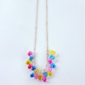 Maggie Dummy Pacifier Charm Necklace Simpsons Pink Blue Yellow 90s