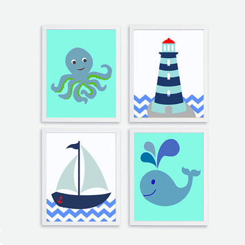 Printable Octopus, Sailboat, Lighthouse, Whale Instant Download Kids Nautical Nursery Art Print Decor, Baby Room Wall Decor, Nautical Poster