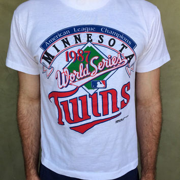 Vintage 1987 Minnesota Twins World Series American League Champions Screen Stars Baseball Shirt