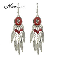 Vintage Style Big Ethnic Earrings Antique Silver Plated with Red Beige Blue Black Enamel Beads Long Leaf Earrings Brincos
