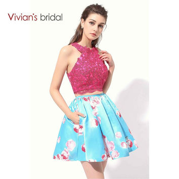 Vivian's Bridal Two Piece Cocktail Dresses Halter Lace Printing Prom Girls Short Party Dresses Graduation Dress CD350-1