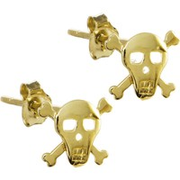14kt Yellow Gold Skull and Crossbones Stud Earrings