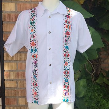 Men Guayabera White with Mutlicolor Embroidery