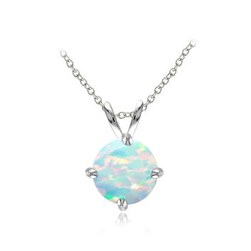 Sterling Silver Created White Opal 7mm Round Solitaire Necklace