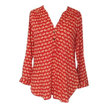 Red and Ivory Elephants Tunic